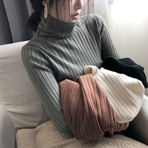 n9mwT Baz Underpants kadın Kore tarzı kazık yaka ince örme gömlek lo kazak Coat kadın sonbahar ve kış dış giyim, iç balıkçı yaka