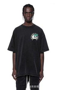 Impresso do T da forma solta cor sólida manga curta T Shir Casual Lavados Tops Masculino Vestuário Designer Mens Skulls