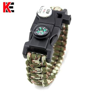 Outdoor EDC Tool With SOS LED Light Camping Paracord Rope Multifunctional Survival Whistle Compass Bracelet