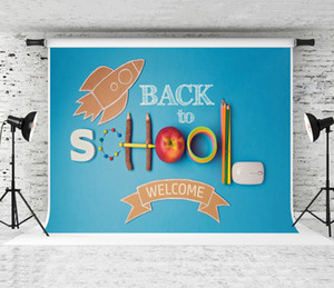 Dream Welcome Back to School Backdrop School Supplies Cardboard Rocket Decor Photography Background Students School Party Blue Shoot Prop