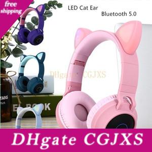 새로운 도착 주도 고양이 귀 소음 제거 헤드폰 블루투스 5 .0 젊은 사람들 키즈 헤드셋 지원 Tf를 카드 3 .5mm 플러그와 마이크 T191021