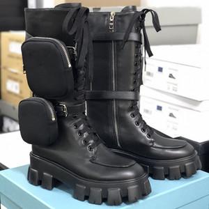 Zapatos de diseñador Mujeres ROIS Botas de cuero real Botas de Martin Martin Nylon Botas de rodilla Australia 2 Botones removibles Botines de las señoras Zapatos de plataforma