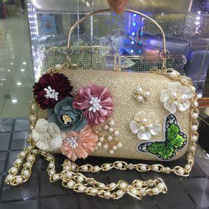 Luxury Crystal Clutch Handbags Women Bags Designer 2020 Ladies Pearl Floral Evening Clutch Purse Fashion Female Butterfly Bags