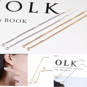 18K real gold electroplating simple hanging copper chain ear line ear pin Diy earrings Accessories earrings DIY handmade accessories itexQ i