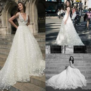 Julie Vino 2020 Bohemian Brautkleider tiefer V-Ausschnitt Herrliche Stern Spitze Brautkleider Backless Vestido De Novia Hochzeit Kleid