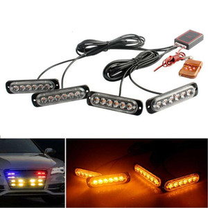 12V 16W 4PCS Car 24LED Amber Strobe Flash Light Dash Emergency Warning Lamp Kit Car Styling Accessories