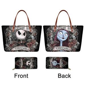 FORUDESIGNS Luxury женщин 2pcs набор на ремне сумки кошелек Кошмар перед Рождеством Totes Сумки Джек и Салли Ladies Case Кошелек