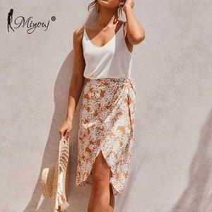 Miyouj 2020 floreale irregolare allacciato Beach Bikini Dress temperamento di lunghezza media Gonna Vacanze estive donne fresche dolci Beachwear