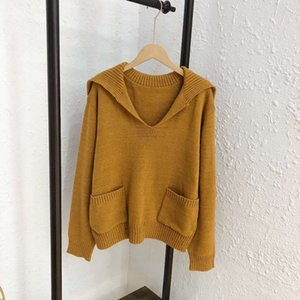 Free Shipping Women's 2021 Same Neck Yellow Sleeves Pullover Sweaters Women Long Lapel Brand Pullover Style 081615 Fxnol