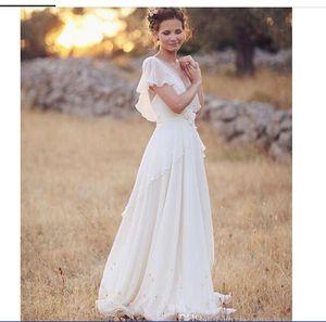 Bohemian Hippie Style Wedding Dresses 2020 Beach A-line Wedding Dress Bridal Gowns Backless White Lace Chiffon Boho