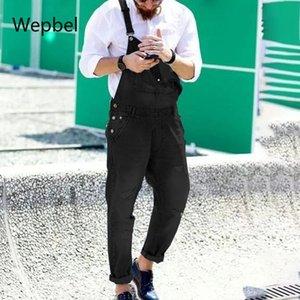 WEPBEL джинсовые комбинезоны Модные джинсы мужские ремень Denim Rompers Разорванные джинсы Брюки популярные Рабочая одежда Брюки