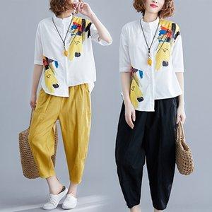 r5Ue7 2019 New White mulheres de grande porte irregulares imprimiram a camisa casuais camisa branca perna larga de duas peças calças calças de pernas amplo conjunto
