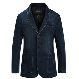 New Mens Denim Blazer Men Fashion Cotton Vintage Suit Jacket 4XL Male Blue Coat Denim Jacket men slim fat Jeans Blazers 200922