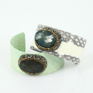 luxury jewelry tender green grey leather with cut angle natural dark blue stone charms adjustable open cuff bangles for women