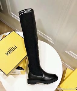 o Luxusfrauenschuhe über den Knieaufladungen 2020 neue Superstars der Frauen Oberschenkel hohe Gestrickte Socken Stiefel Größe EU35-41