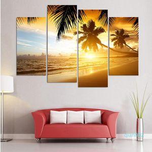 Модульные печати Wall Art Landscape 4 шт / шт Tropical Paradise Sunset Home Decor Canvas HD Рамочные картины Современные картинки
