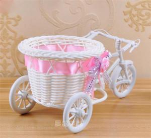 Triciclo blanco Bicicleta Diseño Cesta de la flor de almacenamiento de contenedores partido de bricolaje Weddding casamento fuentes de la decoración Flores Artificiales