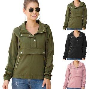 Mujeres ocasionales superior de la chaqueta con capucha caliente sudaderas con capucha otoño invierno manera de las tapas sudadera con capucha sólidos diseñadores suéter 3color CZ90302