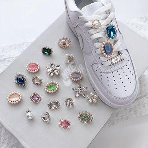 2pcs / pair cadarço fivela de metal Shoelaces sapatos de fivela Acessórios bloqueio DIY sapatilha Kits de pedra Lace Buckle individuais acessórios de pérola