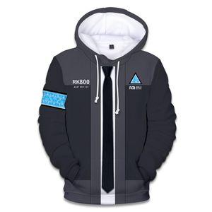 2020 designer New Game Detroit Becomes Human 3D Printed Hoodie Sweatshirt Unisex Uniform Hat Hoodie Fashion Print Clothes Cool Coat