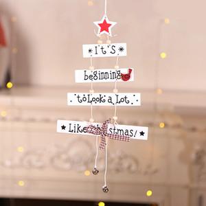 Yeni Noel moda ahşap kolye ağaç beş köşeli yıldız mektup ahşap Noel Süs pencere ayarı sahne