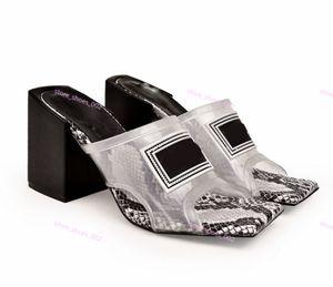 Versace high heel sandals calidad transparente talón Mujeres de mediana sandalias de tacón mulas Diapositivas PVC superior con cuero Suela hecha en Italia 9 cm sandalias / 12 cm