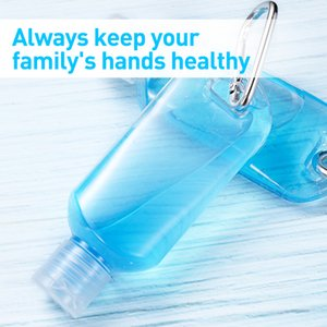 50ml Portable Disinfectant Hand Sanitizer Package Bottles for Outdoor Reusable Empty Makeup Lotion Clear Bottle with Carabiner Clip