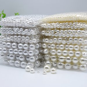 3mm-20mm Straight Holes White Round Acrylic Sewing Pearl Spacer Beads Clothes Headwear Shoes Bag Craft Beaded DIY Jewelry Making