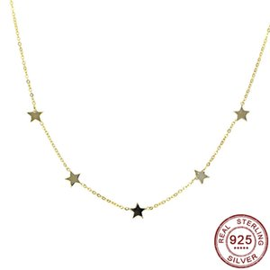 2020 S925 Sterling Silver Star colares minimalista clavícula colar Moda Simples Mulheres Fine Jewelry cor do ouro New Chegou