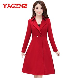 YAGENZ Primavera revestimento roupa trincheira solta oversize duplas tendência Plus Size sobretudos peito blusão longo ropa coat mujer 644