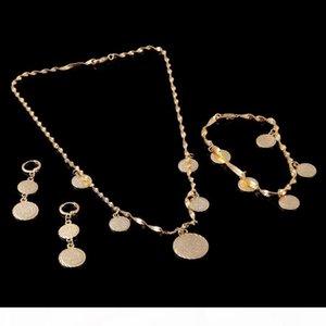 Solide Armband Halskette Ohrringe Islamische muslimisch-arabischen Münzen-Geld-Zeichen Frauen 14K reales gelbes Fine Gold Naher Osten Afrika Schmuck