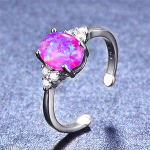 Kadınlar İçin Boho Kadın Beyaz Mor Yangın Opal Ring Gümüş Renk Oval Taş Ayarlanabilir Yüzük Promise Düğün Nişan yüzükleri