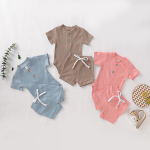 Unisex Baby Soft Cotton Clothing Sets Solid Knitted Pits Short Sleeve Romper + Short Pants 2pcs set Outfits Boutique Infants Clothes