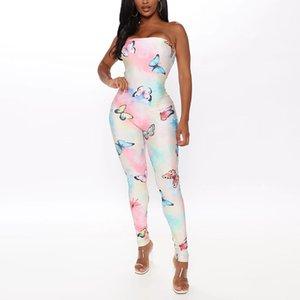 Streetwear Kadınlar Jumpsuit Yaz Seksi Kapalı Omuz BODYCON tulumları Skinny Onesies Clubwear Kıyafetleri 2020 Print