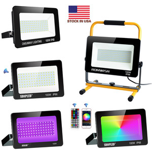 Retail Outdoor LED Floodlight 50W 100W 150W 200W 300W 400W Cool white COB Landscape Flood Lights Wall Wash Light + Us Stocks