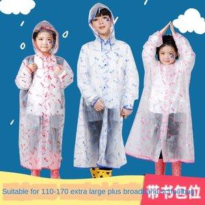 Sejgq Jungen Kinder transparent langen Regenmantel Schulranzen breit Schüler Poncho und Primary Mantel Gürtel mittlere Tasche Umhang Childre LcupU