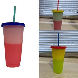 Ronda de cambio de color de la taza con tapa reutilizable taza de jugo de plástico transparente Vaso ejercicio de paja al aire libre de encargo a medida 12ty3 B2