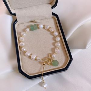 Joyería de moda brazalete de perlas de agua dulce de las mujeres de moda de Corea del temperamento clásico blanco perla pulseras Mujer Mujeres