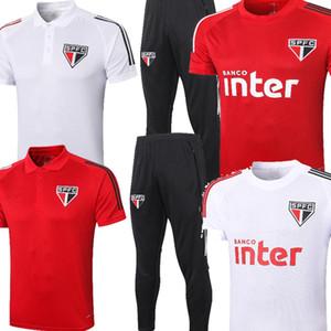 2021 Sao Paulo FC Pato Tracksuits Alves White Rouge Mens manches courtes Football Football Polo Hernanes Chauffer la maillot d'entraînement T-shirt20 21