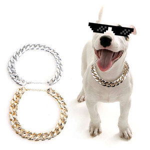 Gold Silver Chain Teddy Dog Collar Pet Law Bucket of Small and Medium Cuban Link Necklace pet dog accessories