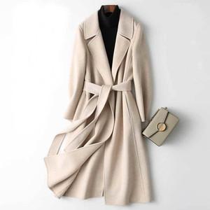 2020 Women Cashmere Long Coat Elegant Turn Down Collar Woolen Coat With Belt Open Stitch Design Winter Warm Coat Casaco Feminino T200831