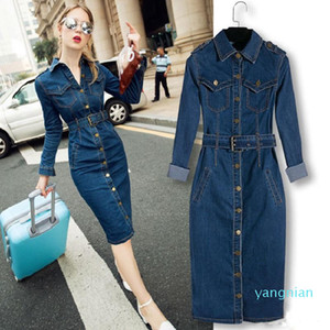 Hot Sale Denim Dress Women Long Sleeved Casual Lapel Collar Elegant Solid Color High Waist Knee-Length Dress Single Breasted Jeans S-XXXL