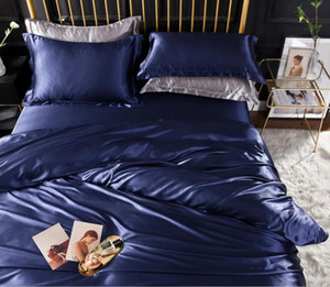 Royal blue Satin Bedding Set King Queen Size Solid Bedspread Mattress cover Silky Soft Duvet cover Flat Fitted sheet Pillowcases