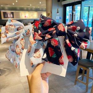 2020 шифоновое Печать Big Bowknot Шпилька для женщин Клубничный Tie Узел Мягкие зажим для волос девушки ободок для волос Womens аксессуары