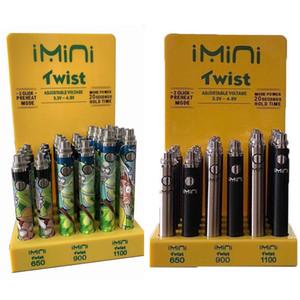 Nuovo Imini Twist batteria di tensione regolabili Vape penna 24pcs lotto 25pcs / lotto 350 650 900 1100 1300mAh E Cigarette Batterie Patterns / fumetto