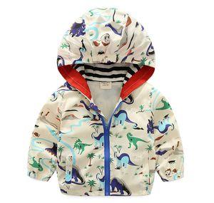 Childrens Autumn Zipper Jackets Boys Fashion Cartoon Windbreakers Boys Dinosaur Print Autumn Coats 2020 New Arrival Kids Coat with Hood Hot