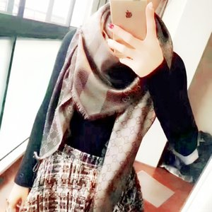 1dGKX Da S misma plaza carta Jacquard pañuelo grande bufanda cuadrada nuevo estilo de algodón jacquard bufanda