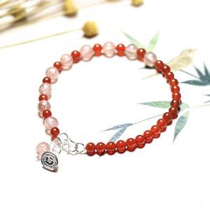Strawberry weibliches rosa Armband Erdbeere-Kristallkristallarmband Sterling Silber Schmuck Valentinstag Geschenk