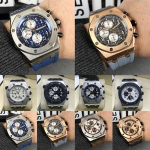Moda Royal Oak Offshore Chronograph progettista Guarda il 42 Ginza cassa in oro rosa quadrante nero cinturino in pelle al quarzo Mens guarda l'orologio 9t1M #