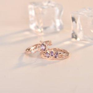 Calagem jóias de prata esterlina Amethyst Dois Diamond Ring Net Red Moda Princesa Joint Nome S925 celebridade Inspirado Anel Feminino